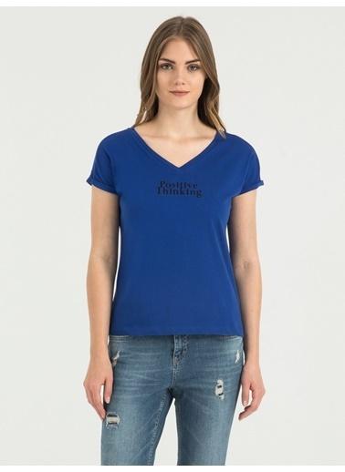 Loft V Yaka Tişört Mavi
